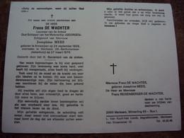 """Doodsprentje/Bidprentje Frans DE WACHTER (Echtg J.MEES)Antwerpen 1909-1976 Merksem Oud-Schipper Ms """"GEORGES"""" - Religion & Esotericism"""