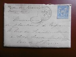 LETTRE POSTE MARITIME VIA MARTINIQUE PAR VOIE DE St NAZAIRE CACHET PARIS ETRANGER TIMBRE GROUPE ALLEGORIQUE 1876 - 1849-1876: Klassieke Periode