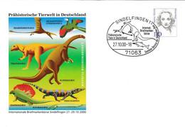 126  Animaux Préhistoriques, Dinosaure: PAP D'Allemagne, 2000 - Prehistory, Dinosaur Stationery Cover - Prehistorics