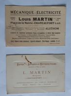 Lot De 2 Cartes Avec Publicité Appareils Motoculteurs Louis Martin De Chateaufort En Seine & Oise ... Lot400 . - Advertising