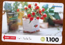 GIAPPONE Ticket Biglietto Bus MetroTreni Fiori Flower - Nishitetsu Card 1.100 ¥ - Usato - World