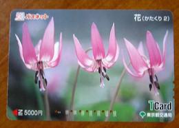 GIAPPONE Ticket Biglietto Bus MetroTreni Fiori Flower - T Card 5000 ¥ - Usato - Monde