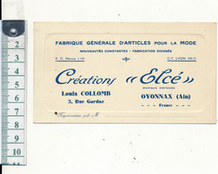 """OYONNAX, 01 - Créations """"Elcé"""", Articles Pour La ModeDatée 1931 Au Verso - Cartoncini Da Visita"""