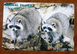 GIAPPONE Ticket Biglietto Bus Metro Treni Animal Family Card 1000 ¥ - Usato - Monde
