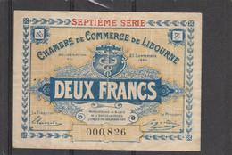 Chambre Commerce LIBOURNE  - Billet Deux Francs - 23/9/1920 - 000826 - En L' état - Cámara De Comercio