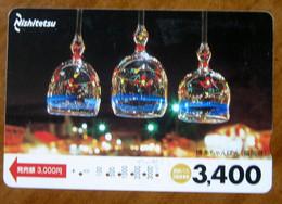 GIAPPONE Ticket Biglietto Bus Metro Treni  Decorazioni - Nishitetsu Card 3,400 ¥ - Usato - Monde