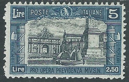 1926 REGNO MILIZIA 5 LIRE MH * - RE18-5 - Mint/hinged