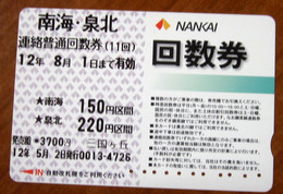 GIAPPONE Ticket Biglietto Bus Metro Nankai Card  - Usato - Monde