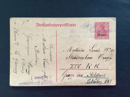 Postkaart Belgien 10 Cent - GEPRUFT Militarische Ueberwachungsstelle + Etappen Kommandant (Le Quesnoy) - [OC1/25] Gov. Gen..