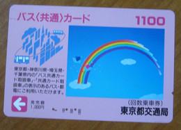 GIAPPONE Ticket Biglietto  Treni  Metro Bus Rainbow Pink Card - 1100 Usato - Monde