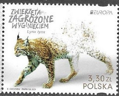 POLAND, 2021, MNH, EUROPA, ENDANGERED SPECIES, FELINES, LYNX,1v - Other