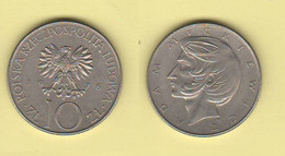 Polonia 10 Zloty 1976 Poland 10 Zlotyck Adam Mickiewicz Nickel Coin - Polen