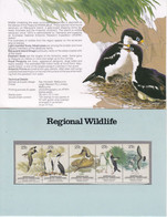 AAT 1983 Antarctic Wildlife Strip Of 5v Presentation Map (52016) - FDC