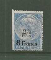 TIMBRES FISCAUX DE FRANCE DIMENSIONS N° 92   2/10 En Sus Sur 8F Bleu   Cote 100€ - Fiscaux