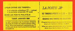 Tb013  ♥️ Carnet Non Plié 2630 C1 Daté 27-12-89 N°003 Marianne BRIAT 10x2.30 Fr Adhésif N.D Tarif Janvier 1990 - Usados Corriente