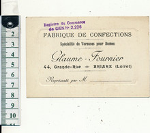 BRIARE, 45 - Fabrique De Confections GLAUME-FOURNIER - Cartes De Visite