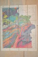Liège La Calamine Eupen Verviers Tongres Stavelot Spa Durbuy Carte Toilée Géologique 1920 - Carte Geographique