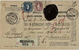 "1891, Paketkarte 1 Fr. U. 50 C. "" Neuchatel "".,  A4828 - Covers & Documents"