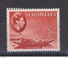 SEYCELLES:  1938  GIORGIO  VI°  -  5 R. ROSSO  LACCA  L. -  YV/TELL. 132 - Seychellen (...-1976)