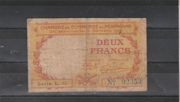 Chambre Commerce  PERPIGNAN  - Billet Deux Francs - 22/10/1919 - Série LG - 02353 - En L' état - Cámara De Comercio