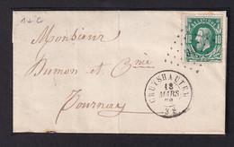 DDZ 134 - Lettre TP 30 - Points 90 CRUYSHAUTEM 1872 Vers TOURNAY - Signée Ducatillon - COBA 25 EUR S/détaché. - 1869-1883 Leopold II