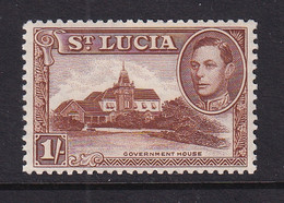 St Lucia: 1938/48   KGVI   SG135a    1/-   [Perf: 12]      MH - St.Lucia (...-1978)