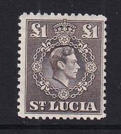 St Lucia: 1938/48   KGVI   SG141    £1       MH - St.Lucia (...-1978)
