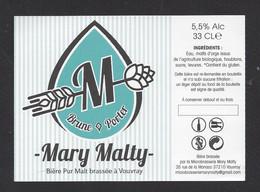 Etiquette De Bière Brune  -  Brasserie Mary Malty  à  Vouvray  (37) - Beer