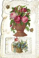 Carte  Agoutis Panier De Roses  + Panier De Myosotis Bordures Broderies  RV - Sonstige