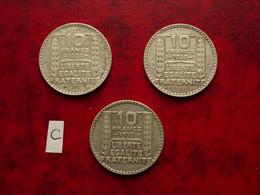 3 Pièces De 10 F Turin En Argent - K. 10 Francs
