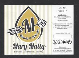 Etiquette De Bière Blonde  -  Brasserie Mary Malty  à  Vouvray  (37) - Beer