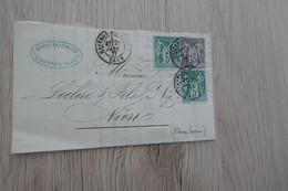 Lettre France Partielle Bicolore  X 3 TP Type Sage Castres Pour Niort 1877 - 1877-1920: Semi-Moderne