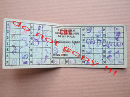 FNRJ Yugoslavia / GSP Beograd - Pretplatna Mesečna Karta, City Traffic Company Belgrade - Subscription Monthly Ticket - Europe