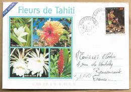 Enveloppe Entière Papeete R.P. Fleurs De Tahiti 2scans 05-09-2002 Décortiqueur De Coco Hibiscus Opuhi Tiare Apetahi - 1961-....