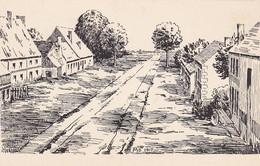 AK Feldpostkarte - Dorfszene - Zeichnung - Künstlerkarte MD 1917 - Meisenbach Riffarth & Co, München (56191) - Weltkrieg 1914-18