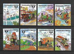 Disney Set Dominica 1987 Trains MNH - Disney