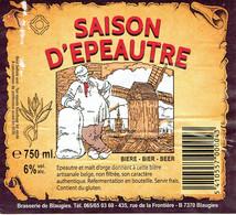 Etiquette Saison D'Épeautre Bière Artisanale Belge Non Filtrée De La Brasserie De Blaugies, 750 Ml, 6% - Cerveza
