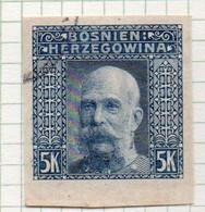 37CRT887 - BOSNIA ERZEGOVINA 1906 , 5 Kr Usato NON DENTELLATO (CRT) - Bosnië En Herzegovina