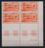 France - 1985 - PA N°Yv. 58 - Hydravion 20f Orange - Bloc De 4 Coin Daté - Neuf Luxe ** / MNH / Postfrisch - Luftpost