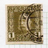 37CRT892 - BOSNIA ERZEGOVINA 1912 , 1 H. Usato IMPERFORATED NON DENTELLATO (CRT) - Bosnië En Herzegovina