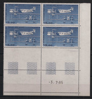 France - 1984 - PA N°Yv. 57 - Farman 15f Bleu Foncé - Bloc De 4 Coin Daté - Neuf Luxe ** / MNH / Postfrisch - Luftpost