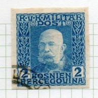 37CRT893 - BOSNIA ERZEGOVINA 1912 , 2 H. Usato IMPERFORATED NON DENTELLATO (CRT) - Bosnië En Herzegovina