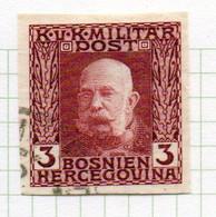 37CRT894 - BOSNIA ERZEGOVINA 1912 , 3 H. Usato IMPERFORATED NON DENTELLATO (CRT) - Bosnië En Herzegovina
