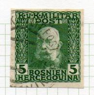 37CRT895 - BOSNIA ERZEGOVINA 1912 , 5 H. Usato IMPERFORATED NON DENTELLATO (CRT) - Bosnië En Herzegovina