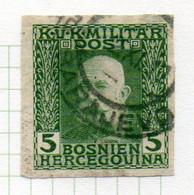 37CRT896 - BOSNIA ERZEGOVINA 1912 , 5 H. Usato IMPERFORATED NON DENTELLATO (CRT) - Bosnië En Herzegovina