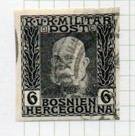 37CRT897 - BOSNIA ERZEGOVINA 1912 , 6 H. Usato IMPERFORATED NON DENTELLATO (CRT) - Bosnië En Herzegovina