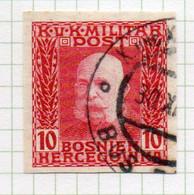 37CRT898 - BOSNIA ERZEGOVINA 1912 , 10 H. Usato IMPERFORATED NON DENTELLATO (CRT) - Bosnië En Herzegovina