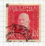 37CRT899 - BOSNIA ERZEGOVINA 1912 , 10 H. Usato IMPERFORATED NON DENTELLATO (CRT) - Bosnië En Herzegovina
