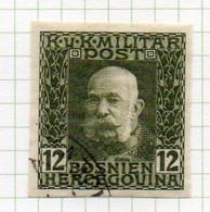 37CRT900 - BOSNIA ERZEGOVINA 1912 , 12 H. Usato IMPERFORATED NON DENTELLATO (CRT) - Bosnië En Herzegovina