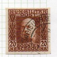 37CRT901 - BOSNIA ERZEGOVINA 1912 , 20 H. Usato IMPERFORATED NON DENTELLATO (CRT) - Bosnië En Herzegovina